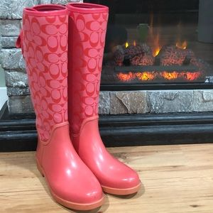 Coach pink tristee rain boot